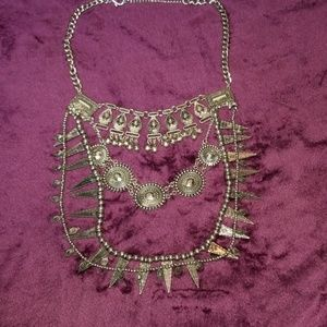 Trendy silver costume necklace